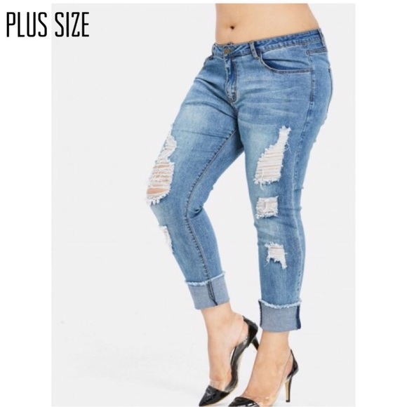 Denim - Plus Size Distressed Cuffed Jeans